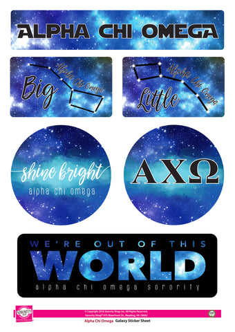 Alpha Chi Omega Galaxy stickers