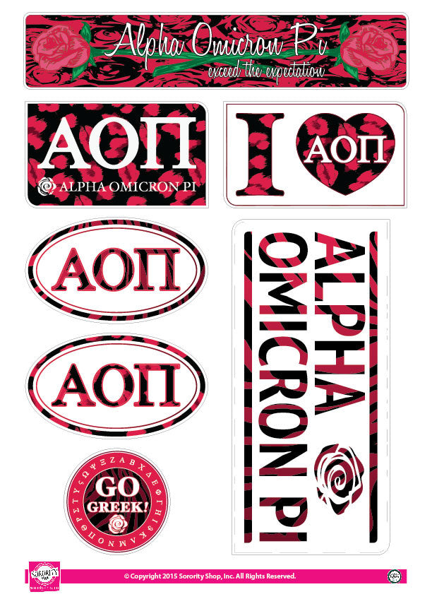 Alpha Omicron Pi <br> Animal print Stickers