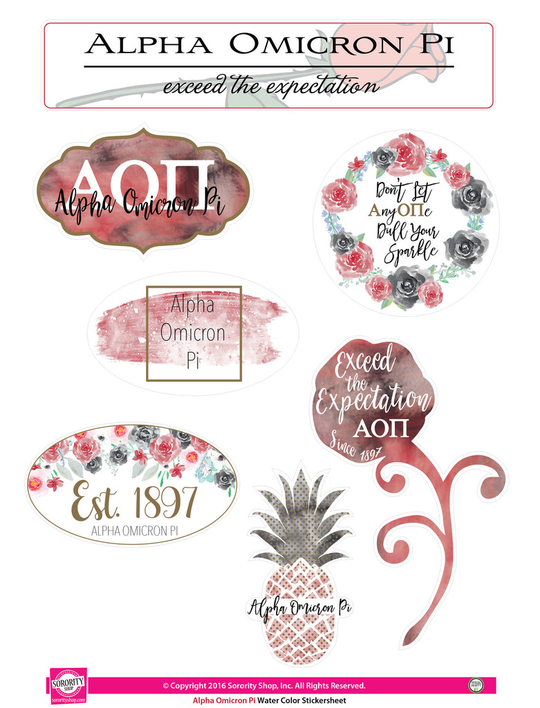 Alpha Omicron Pi <br> Water Color stickers