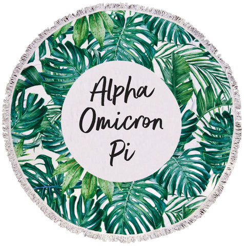 Alpha Omicron Pi Palm Leaf Fringe Towel Blanket