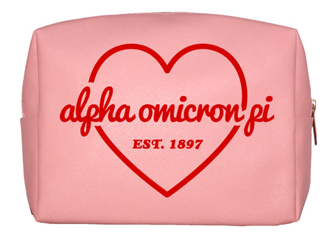 Alpha Omicron Pi Pink w/Red Heart Makeup Bag