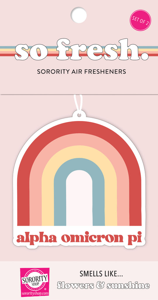 Alpha Omicron Pi Rainbow Retro Air Freshener - Flowers & Sunshine Scent
