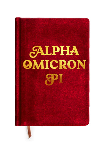 Alpha Omicron Pi Velvet Notebook with Gold Foil Imprint