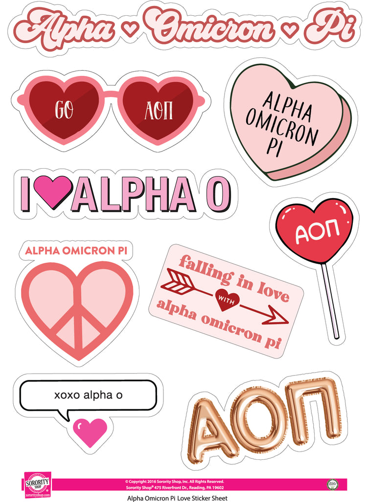 Alpha Omicron Pi- Sticker Sheet- Love Theme