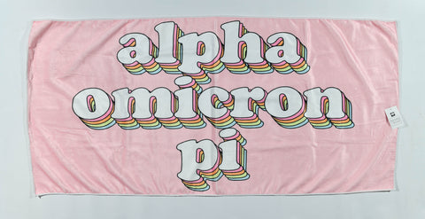 Alpha Omicron Pi Plush Retro Beach Towel