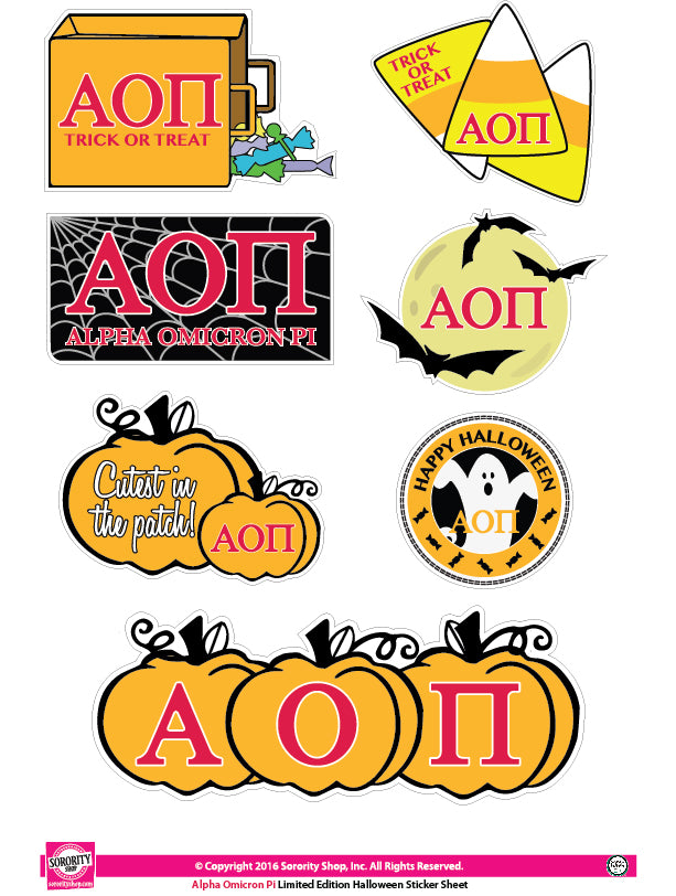Alpha Omicron Pi Halloween Stickers