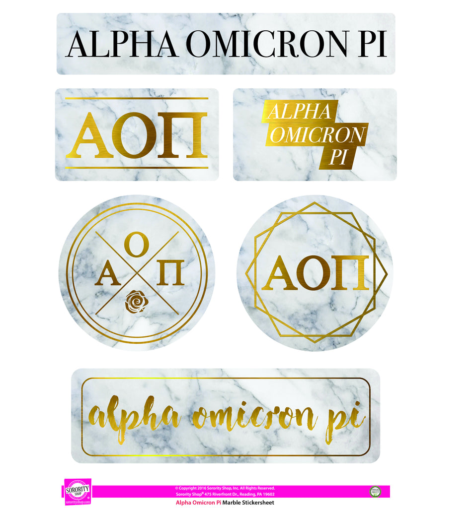 Alpha Omicron Pi Marble Sticker Sheet
