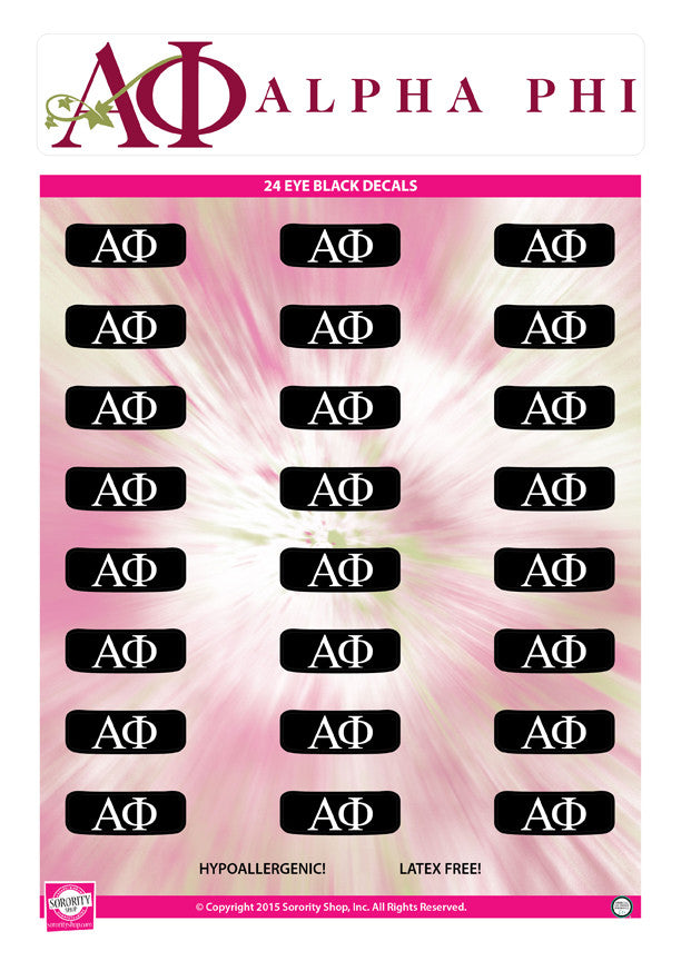 Alpha Phi <br> Eye Black Decals. <br> 24 Per sheet.