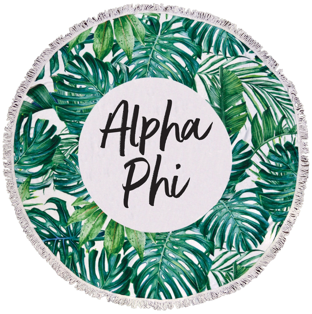 Alpha Phi Palm Leaf Fringe Towel Blanket