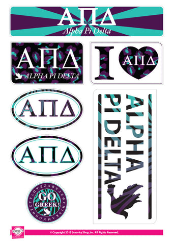 Alpha Pi Delta <br> Animal Print Stickers
