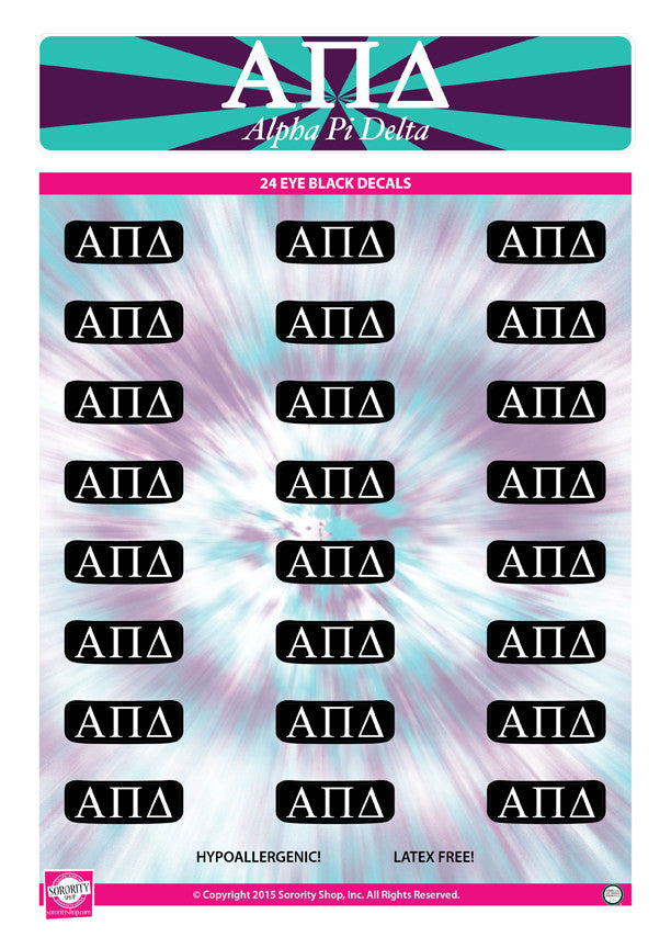 Alpha Pi Delta <br> Eye Black Decals. <br> 24 Per sheet.
