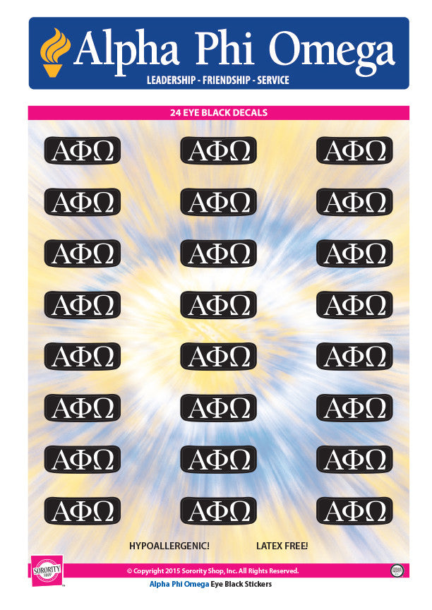 Alpha Phi Omega <br> Eye Black Decals. <br> 24 Per sheet.