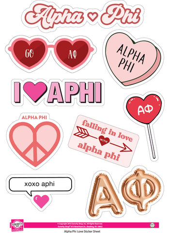 Alpha Phi- Sticker Sheet- Love Theme