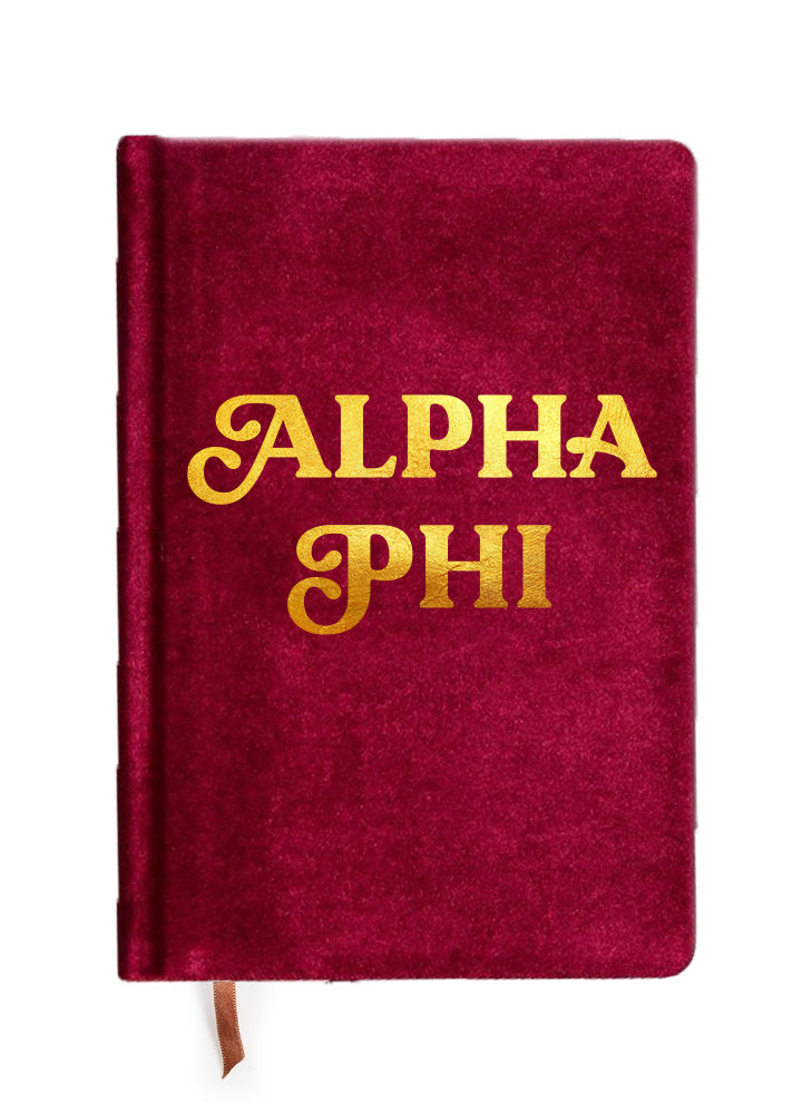 Alpha Phi Velvet Notebook with Gold Foil Imprint