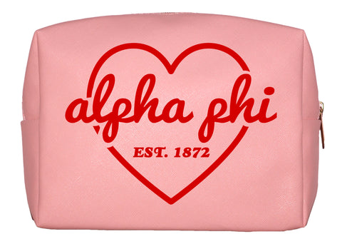 Alpha Phi Pink w/Red Heart Makeup Bag