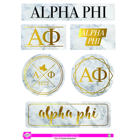Alpha Phi <br> Marble Sticker Sheet