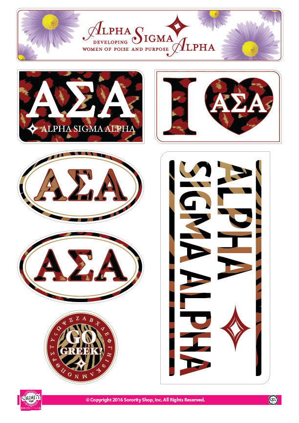 Alpha Sigma Alpha <br> Animal Print Stickers