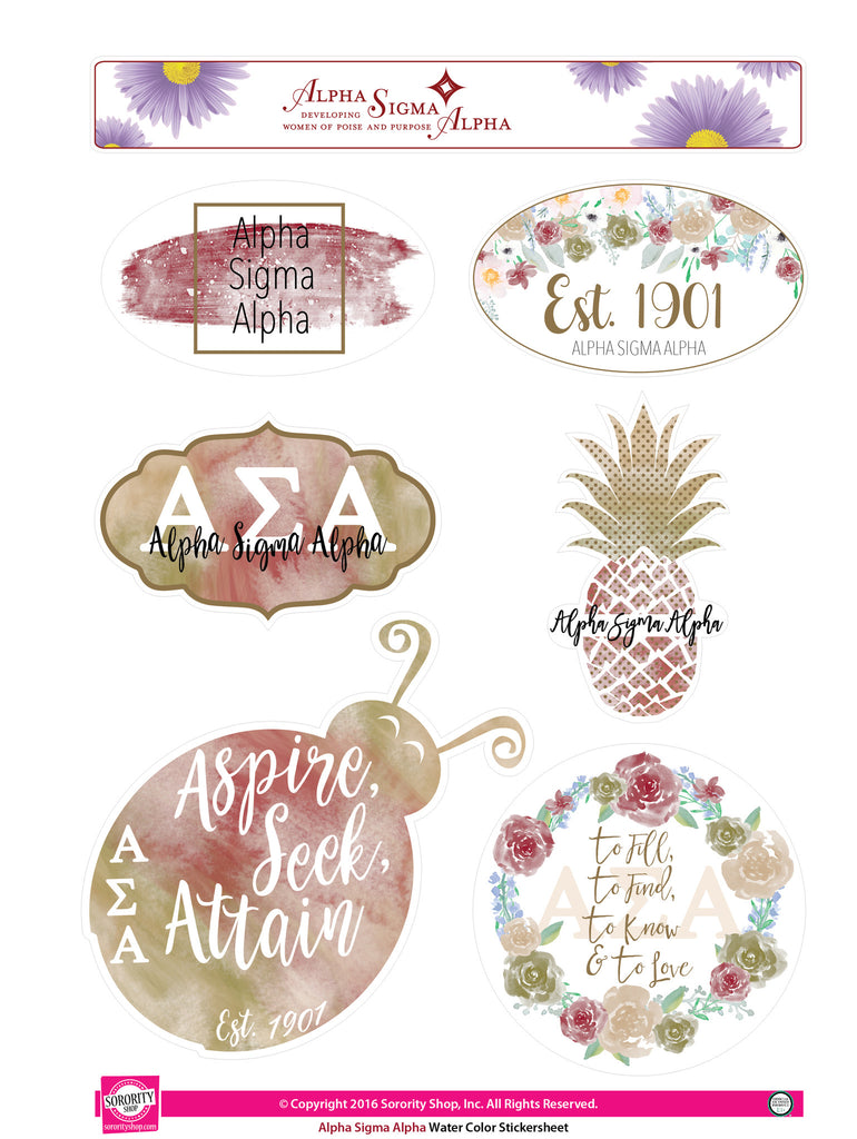 Alpha Sigma Alpha Water Color stickers