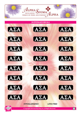 Alpha Sigma Alpha <br> Eye Black Decals. <br> 24 Per sheet.