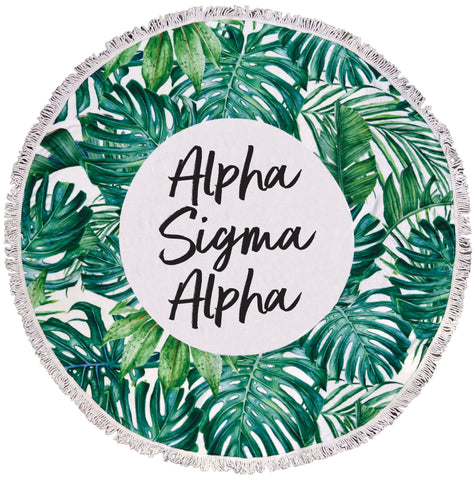 Alpha Sigma Alpha Palm Leaf Fringe Towel Blanket
