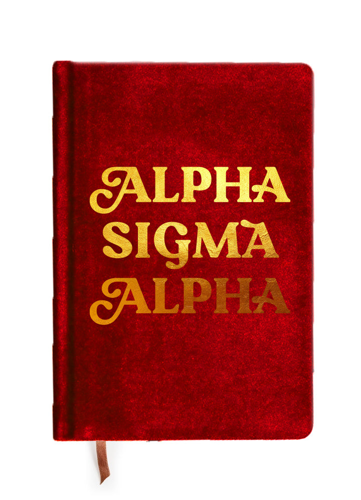 Alpha Sigma Alpha Velvet Notebook with Gold Foil Imprint