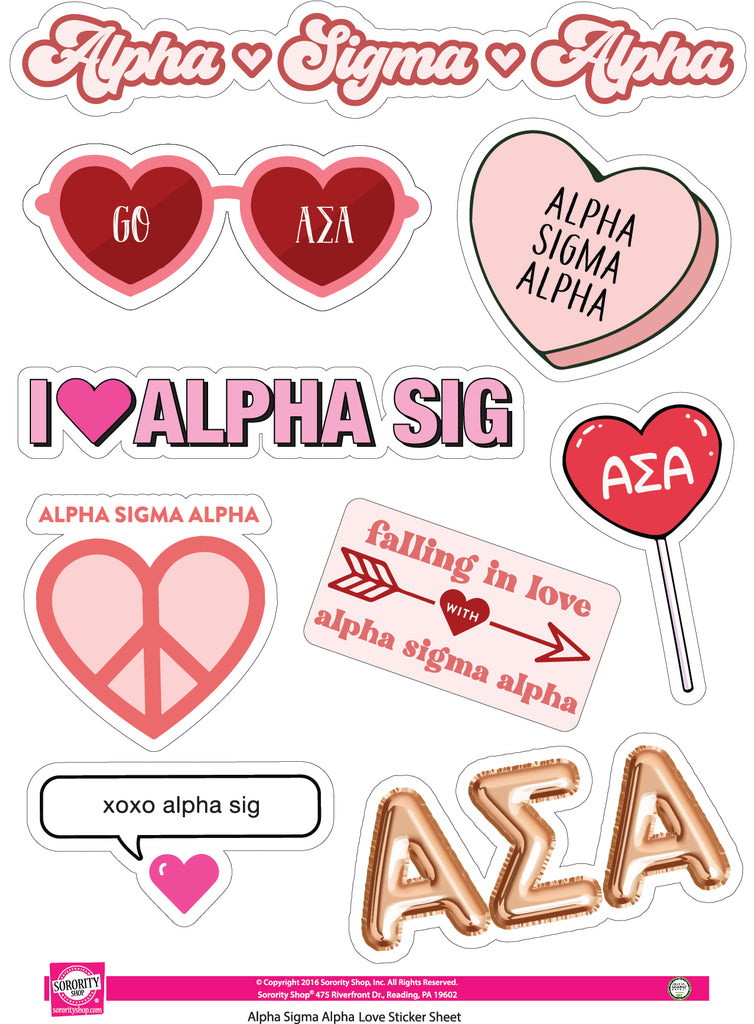 Alpha Sigma Alpha- Sticker Sheet- Love Theme