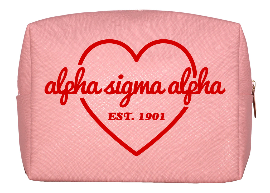 Alpha Sigma Alpha Pink w/Red Heart Makeup Bag