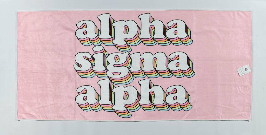 Alpha Sigma Alpha Plush Retro Beach Towel