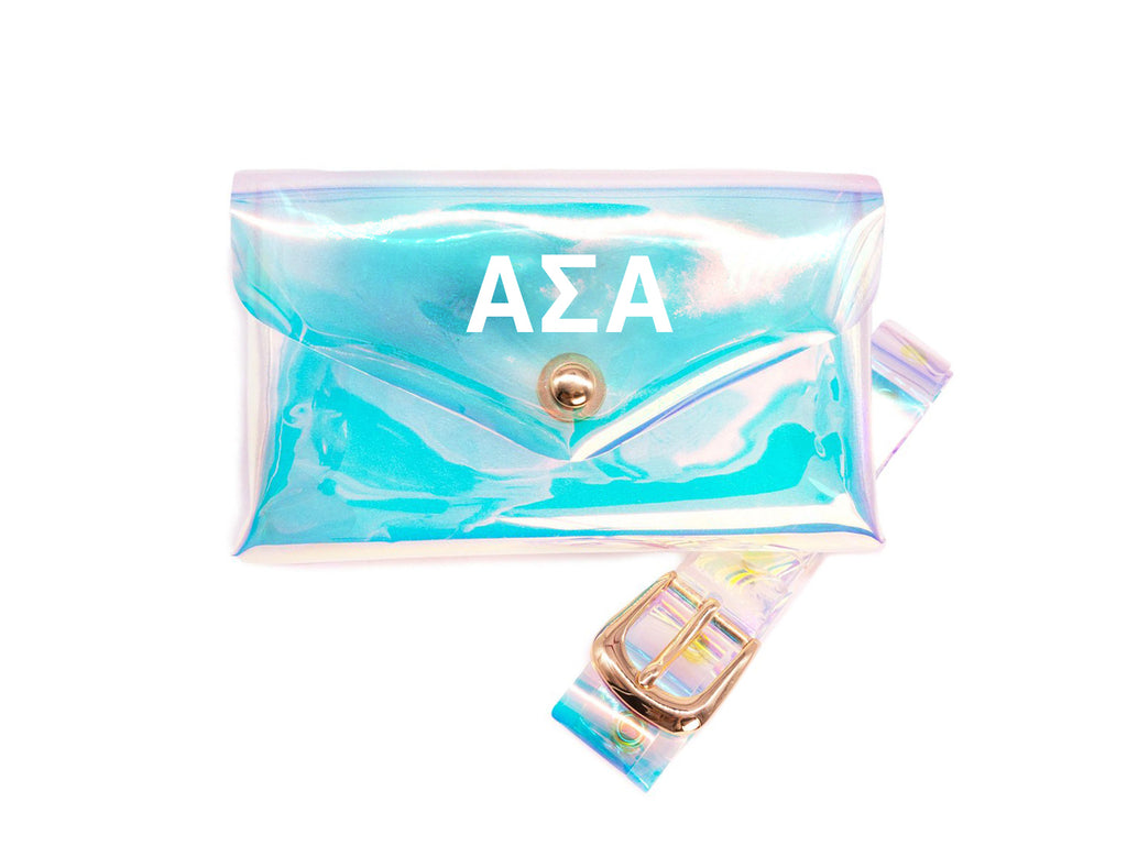 Alpha Sigma Alpha Holographic Belted Fanny Pack