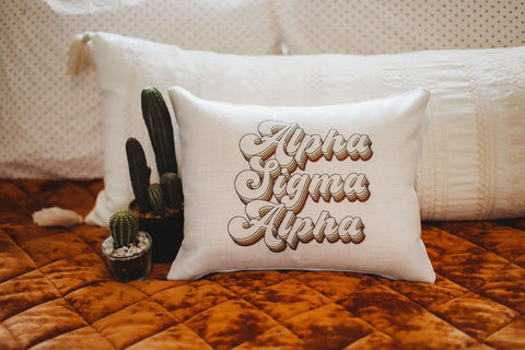 Alpha Sigma Alpha Retro Throw Pillow