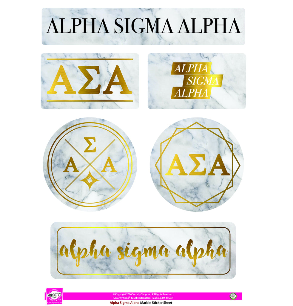 Alpha Sigma Alpha Marble Sticker Sheet