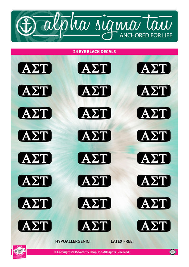 Alpha Sigma Tau <br> Eye Black Decals. <br> 24 Per sheet.