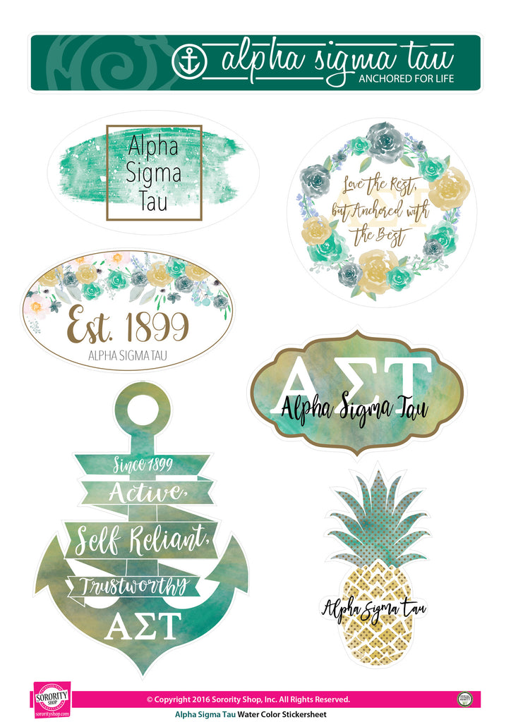 Alpha Sigma Tau Water Color stickers