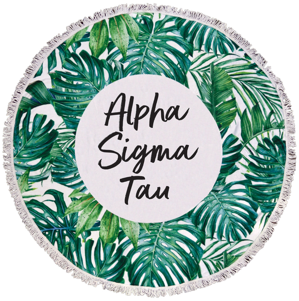 Alpha Sigma Tau Palm Leaf Fringe Towel Blanket
