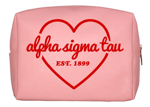 Alpha Sigma Tau Pink w/Red Heart Makeup Bag