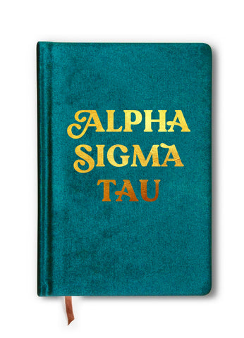 Alpha Sigma Tau Velvet Notebook with Gold Foil Imprint