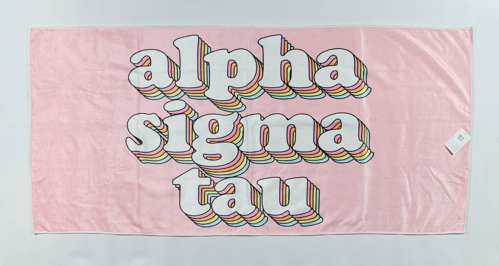 Alpha Sigma Tau Plush Retro Beach Towel