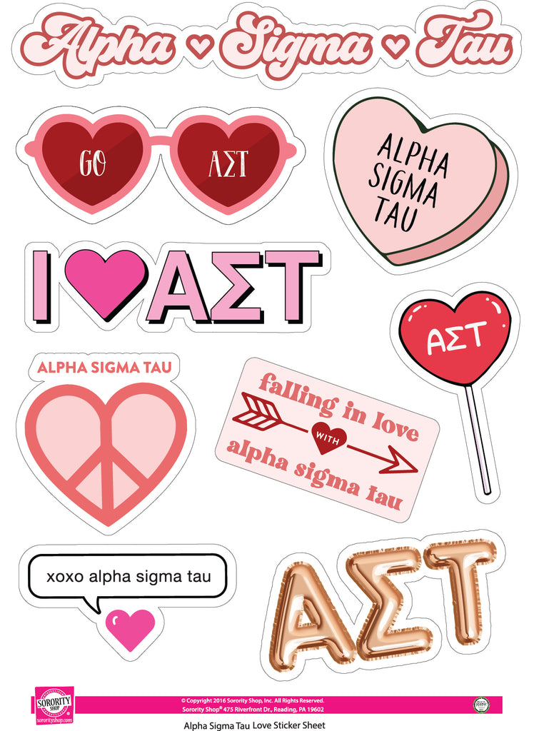 Alpha Sigma Tau- Sticker Sheet- Love Theme