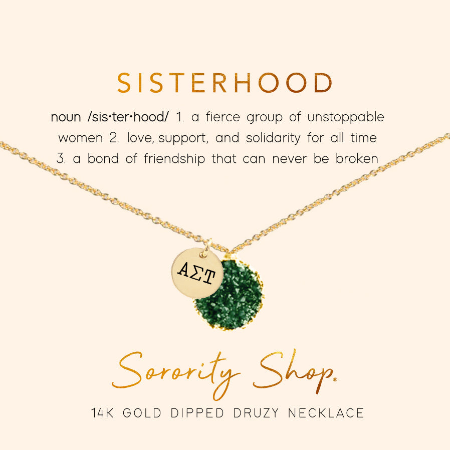Alpha Sigma Tau Sisterhood Druzy Necklace