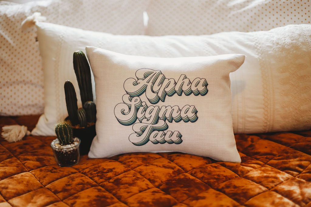 Alpha Sigma Tau Retro Throw Pillow