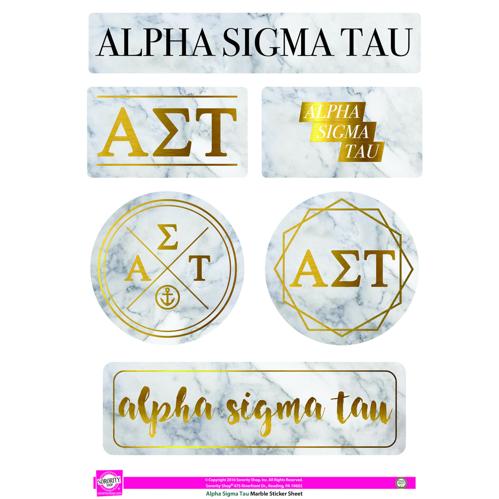 Alpha Sigma Tau Marble Sticker Sheet