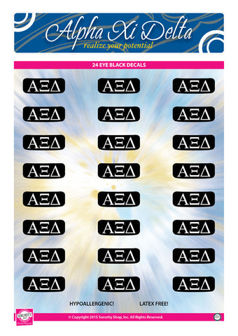 Alpha Xi Delta <br> Eye Black Decals. <br> 24 Per sheet.