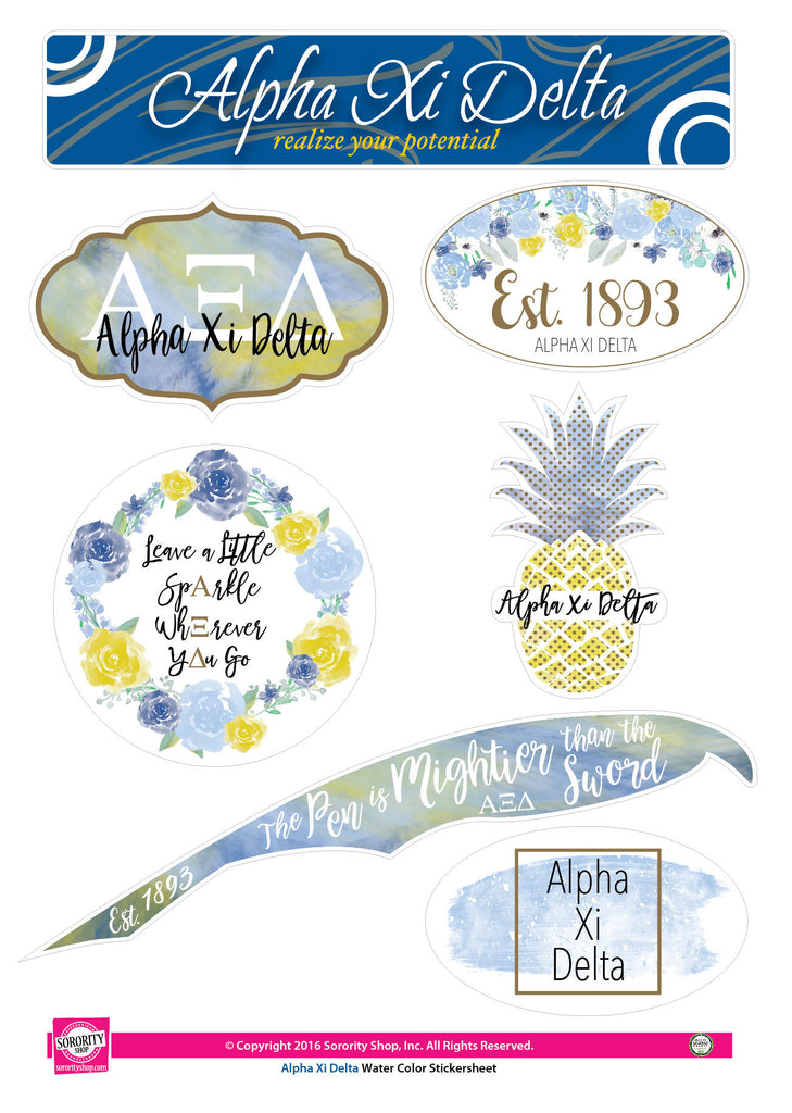 Alpha Xi Delta <br> Water Color stickers