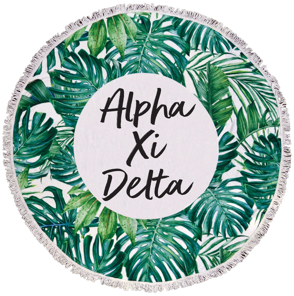 Alpha Xi Delta Palm Leaf Fringe Towel Blanket