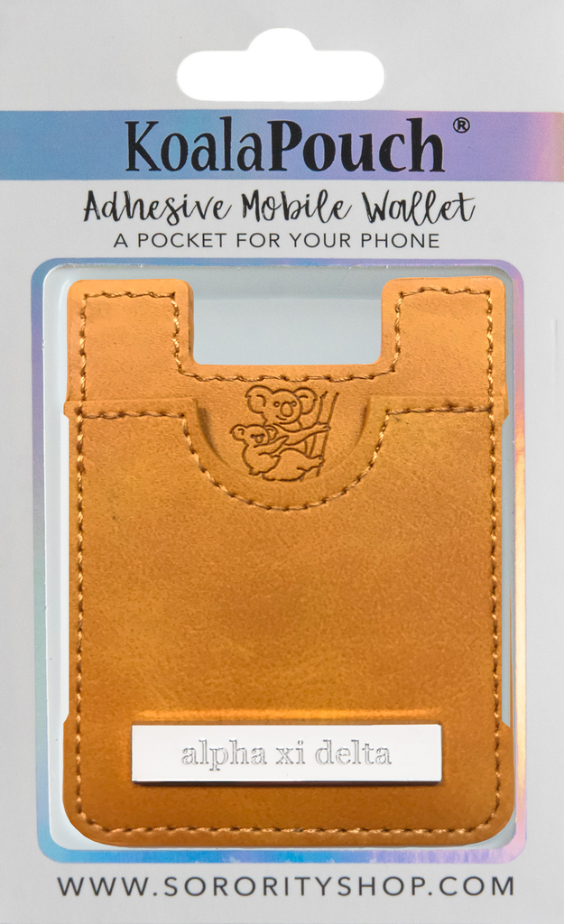 Alpha Xi Delta Faux Leather adhesive mobile wallet, koala pouch