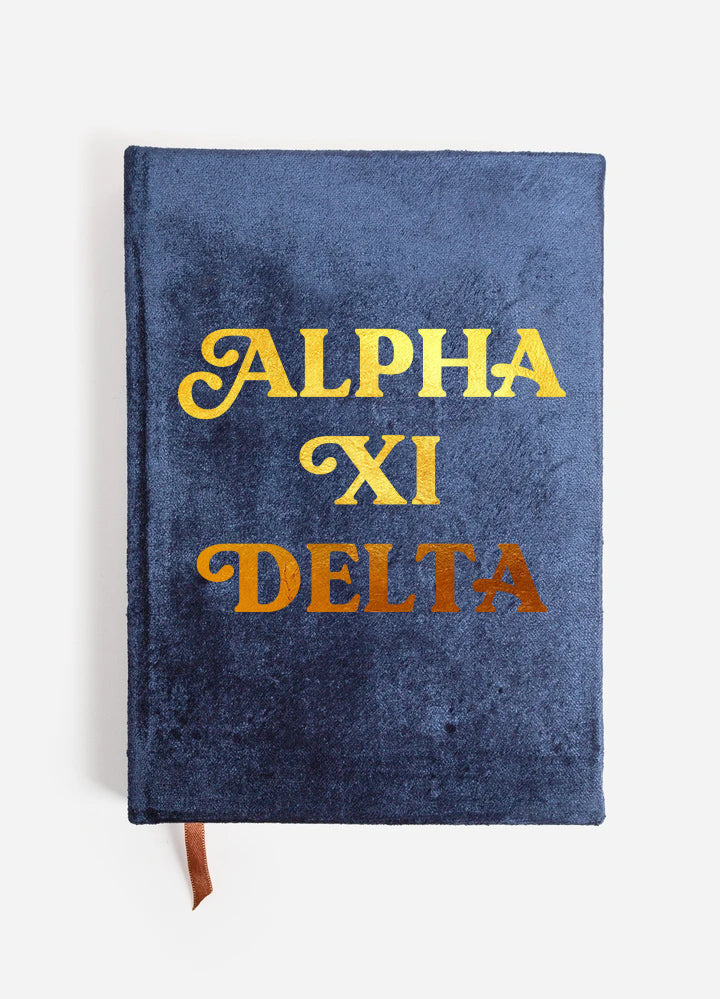 Alpha Xi Delta Velvet Notebook with Gold Foil Imprint
