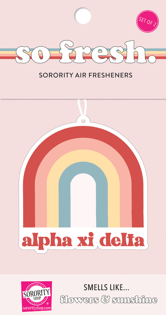 Alpha Xi Delta Rainbow Retro Air Freshener - Flowers & Sunshine Scent