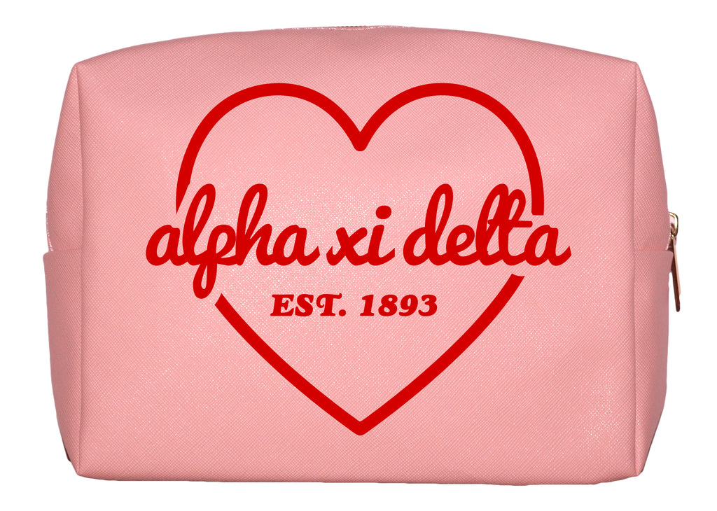 Alpha Xi Delta Pink w/Red Heart Makeup Bag