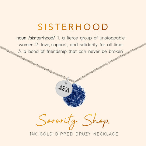 Alpha Xi Delta Sisterhood Druzy Necklace