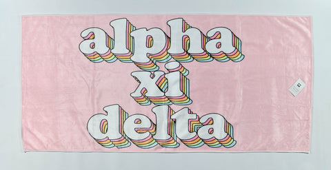 Alpha Xi Delta Plush Retro Beach Towel